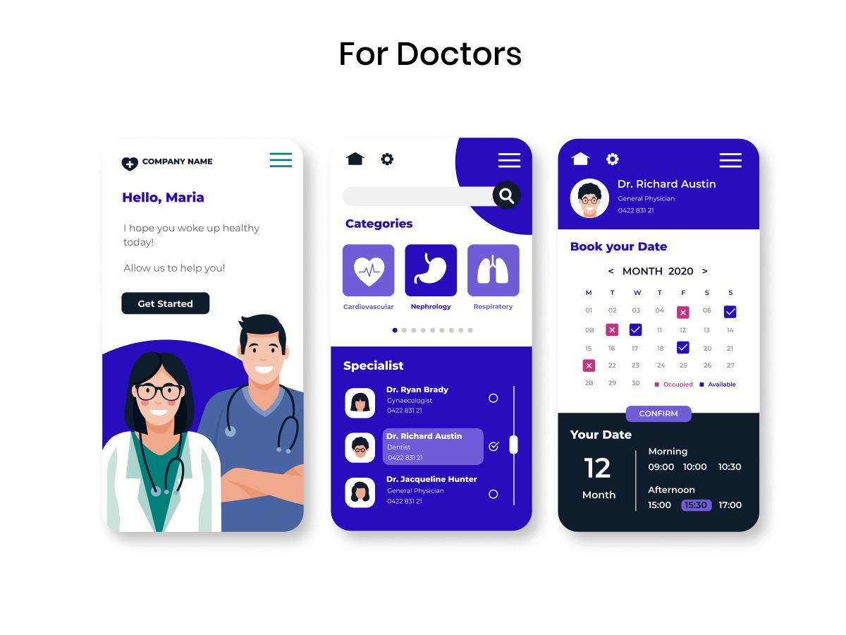 Doctors app screens